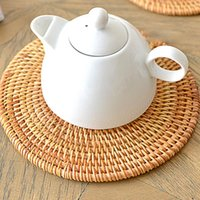 Mats & Pads Kitchen Table Placemat Pad Coasters Rattan Bowl Padding Mat Insulation Round Placemats Hand-made