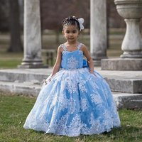 Girl's Dresses Princess Flower Girls For Weddings Lace Crystals Brithday Pageant Ball Gown First Holy Communion