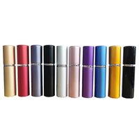 Mini 5ml Refillable Perfume Atomizer Bottle Party Favor Metal Shell Alcochol Spray Bottles Empty Cosmetic Liquid Container Glass Liner Portable Travel JY0807