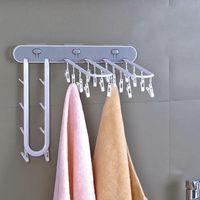 Hangers & Racks Multifunctional Drying Rack Wall-mounted Underwear And Socks Clip Hanger Windproof Storage Plastic