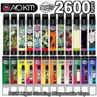 Orijinal E Sigaralar Aokit Lux Tek Kullanımlık Pod Cihazı RGB Işık Vape Kalem Sistemi Ile 2600Puffs 1350 mAh Pil 8.5 ml Tedbir Taşınabilir Stick
