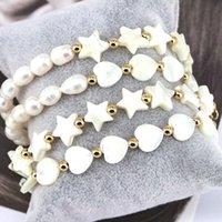 Charm Bracelets 5Pcs, Design White Freshwater Pearl Bangle Star   Heart Shell Beads Bracelet For Women Jewelry 2021 Girlfriend Gift