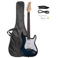 الأزرق الغيتار الكهربائي مع حقيبة حالة كابل حزام يختار الورد الأصابع للمبتدئين الأمريكية الأسهم