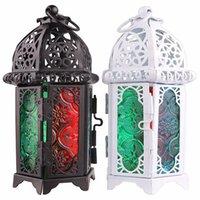 Clásico marroquí decoración a prueba de viento vela a prueba de viento votive hierro vidrio colgando candelabro vela linterna fiesta casa decoración de la boda