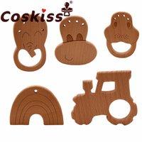 Coskiss 10 pcs faia brinquedos de madeira diy artesanato bebê teether para fazer chocalhos brinquedo educativo teether para recém-nascido teto 210311
