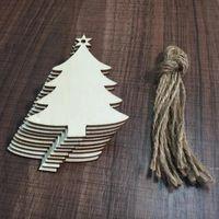 10 teile / paket Natürliche Holzchip Weihnachtsbaum Hängende Verzierungen Anhänger Kinder Geschenke Schneemann Baum Form Weihnachtsschmuck Dekorationen DHE5216