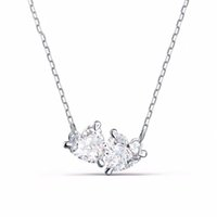 chain Designer brand elegant all-match romantic heart-shaped necklace female small clear love double diamond eternal companion clavicle