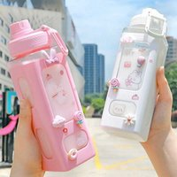Kawaii Bear Pastel Water Bottle With 3D Sticker 700ml/900ml Plastic Travel Tea Juice Milk Portable Cute Shaker Drink Bottle Gift Y0910