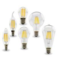 LED Ampuller Filament Dim C35 Mum Ampul 2 W 4 W 6 W E14 Ampuller Işık 220 V Temizle Cam Kristal Avizeler Kolye Zemin Işıkları Edison Lambası