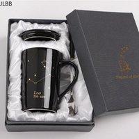 선물 상자와 머그잔 12 별자리 크리 에이 티브 세라믹 숟가락 뚜껑 검은 색과 금 도자기 조디악 밀크 커피 컵 400ml 물