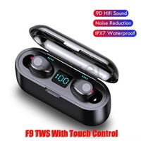 Wireless Earphone Bluetooth V5.0 F9 TWS Headphone LED Display With 2000mAh Power Bank Headset Microphone for Samsung iPhone smart phone