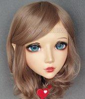 Máscaras de festa (Xiaoer) feminino menina doce resina meia cabeça kigurumi bjd olhos crossdress cosplay japonês anime papel lolita máscara com orelha fada