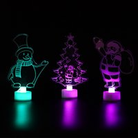 Party Supplies Christmas Decorations Home Santa Tree Night Lights New Year Ornaments Xmas Table Decor Gift Glowing Colorful Acrylic DHF9006