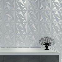 Art3D 50x50cm PVC 3D Wandplatten Diamant für Innenwände Dekor in weißen Wälder Dekor Wallpapers Packung 12 Fliesen