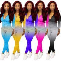 Women Tracksuits Designers Clothes 2021 Two Pieces Set Casual Long Sleeve Leggings Outfits Gradient Color Ladies Fashion Jogging Suits
