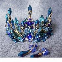 Vintage Düğün Gelin Barok Mavi Rhinestone Kristal Taç Tiara Kafa Küpe Takı Seti Lüks Başlığı Prenses Saç Aksesuarları