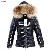 OFTBUY Kış Ceket Kadınlar Gerçek Kürk Kısa Ceket Doğal Rakun Kürk Yaka Parka Ördek Aşağı Ceket Su Geçirmez Streetwear 211018