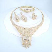 Earrings & Necklace 2021 FASHION Luxury Elegant Vintage Crystal CZ Zircon Earring Bracelet Ring Wedding Banquet Dressing Jewelry Set