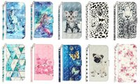 3D Leather Wallet Cases For Iphone 13 12 Mini 11 Pro Max XR XS 8 7 6 Plus 5 SE Wolf Cat Leopard Marble Flower Butterfly Bear Flip Cover Luxury Card Slot ID Stand Purse Girl