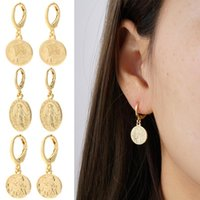 Hoop & Huggie Coin Earrings Our Lady Dangle Gold Star Ear Rings For Female Cubic Zircon CZ Party Gift Korean Fashion 2021