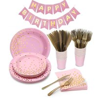Cross-Border Bronzing Small Dot Pink Tableware Set Paper Cup Paper Pallet Paper Towel Knife Fork and Spoon Disposable Party Decoration Facto