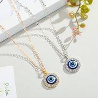 Kleurrijke Turks Crystal Evil Blue Eyes Hanger Ketting Goud Zilver Kleur 14 MM Geometrische Circulaire Muntstuk Clavicle Kettingen Gelukkige Bescherming Sieraden voor Vrouwen Meisje