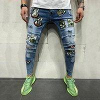 Hombres rasgados Slim Fit Skinny Jeans Diseñador de moda Hi-Street Denom Denim Denim Joggers Agujeros Lavados Destruido Hombre Pantalones Elásticos 5601-