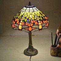 Lâmpadas de mesa libélula lâmpada tiffany lâmpada de tiffany 12 polegadas art deco cama sala de estar quarto luz café E27 220V