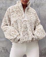 Women's Hoodies & Sweatshirts Pullover High Collar Fleece Long Sleeve Top Zipper Leopard Printed Clothes For Winter