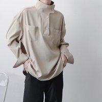 Men's Casual Shirts 2021 Autumn Korean Style Unique Stand-up Collar Design Men Loose Wild Khaki Tooling M-XXL