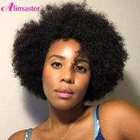 Eng afro kinky curly kurze bob pixie schnitt stumpfe maschine hergestellte Perücken mit Pony für schwarze Frauen günstige menschliche Haarperücke