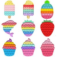 Favor de fiesta empuje burbuja juguete de dibujos animados forma forma de fruta resistente a la presión suave sensory juguete jigsaw alivio presión extruida juguete al por mayor