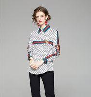 Nouveau style qualité imprimé piste de piste de piste de piste décontractée design féminin blouses manches longues printemps automne belle chemise bureau élégant hauts élégants