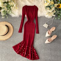 Dress da maglieria irregolare donna 2021 Autunno francese a maniche lunghe a maniche lunghe vestiti sottili eleganti perline di perline vestito da festa