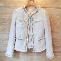 YAMDI BOHO Luxury Tweed Blazer Jackets women 2020 new White long Sleeve Beading Wool Blend Runway fashion jacket coat winter1