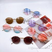 Children sunglasses vintage metals round frame kids sun glasses summer girls boys UV 400 Protective Eyewear sunblock Q2239
