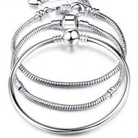 925 Ayar Gümüş Aşk Yılan Zincirleri Bileklik Bileklik Fit Avrupa Boncuk Charm Bilezik Kadınlar Için S Moda DIY Takı Hediye 82 T2