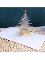 Greeting Cards 3D -up Christmas Tree Castle Happy Birthday Postcards Invitations With Envelope
