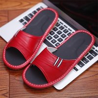 Sheepskin Women's Summer Home Slippers Soft Genuine Leather Couple's Indoor Shoes Solid Color Anti-Skip Men's Slippers 210310