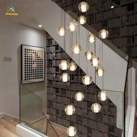 Светодиодный хрустальный стеклянный шарик подвесной светильник метеор дождя потолочный светильник лестница отель ресторан столовая люстра светлая лампочка включена