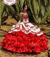 Hot Ruffled Floral Charro Quinceanera Dresses Off Shoulder Puffy Skirt Lace Embroidery Princess Sweet 16 Girls Masquerade Prom