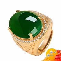 Cluster Rings Vintage Men Ring 925 Silver Jewelry Oval Shape Emerald Zircon Gemstone Gold Color Open Finger For Wedding Engagement Party