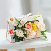 Geschenk Wrap Tragbare Blume Anordnung Tasche Große Florist Verpackungskasten Faltbare Karton Floral Rose Lager Weihnachten