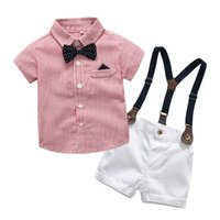 Clothing Sets Baby Clothes Set For Girls Infant Boys Gentleman Bow Tie T-Shirt Tops+Shorts Overalls Outfits Roupas