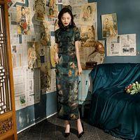 Ethnic Clothing Print Lady Satin Cheongsam Madarin Collar Chinese Evening Party Dress Gown High Split Sexy Qipao Vintage Button Sheath Vesti
