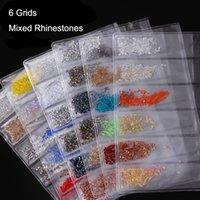 6 Grids Nails Art Mixed Jewelry Luxury Colorful Micro Drill Hybrid Irregular Fingernail Broken Drills Diamonds Crystal Sand For Manicure Decoration Salon