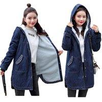 Women's Jackets Winter Warm Denim Female Hooded Coat Thicken Fur Jean For Women Harajuku Plus Size 5XL Loose Outerwear