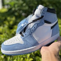Jumpman 1 University 블루 농구 신발 1s UNC 화이트 리치 스 피부 노스 캐롤라이나 스웨이드 신선한 색상 섬세한 질감 클래식 모양
