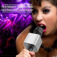Tragbarer Bluetooth-Lautsprecher Q9 Mikrofon Wireless Karaoke KTV-Player-Maschinenstütze TF-Karte Startseite 2 in 1 Handheld Sing-Aufnahme für Kinder Erwachsene
