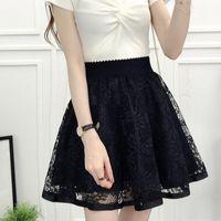 Skirts 2021 Spring Summer Women Black Mini Skirt Korean Elastic High Waist Shorts Sweet Mesh Tulle Umbrella Falda Tul